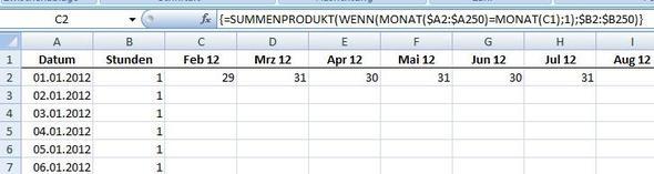 Überstunde eines Monats addieren - (Excel, Office, Formel)
