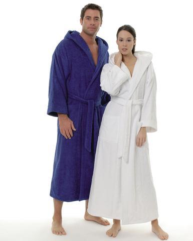Damen und Herren Bademantel mit Kapuze - (Stoff, Badezimmer, Textilien)