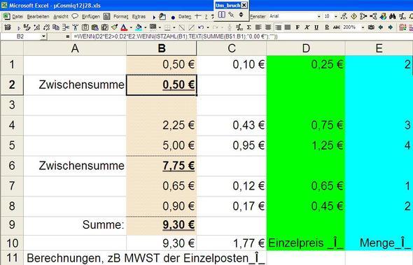 Excel Rechnung Neue Zeile Erstellen