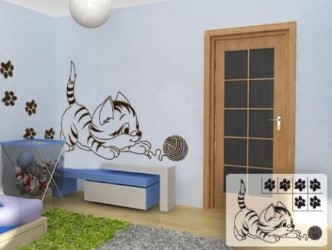 Spiekatze, Wandschablone für Kinderzimmer - (babyzimmer, wandschablonen)