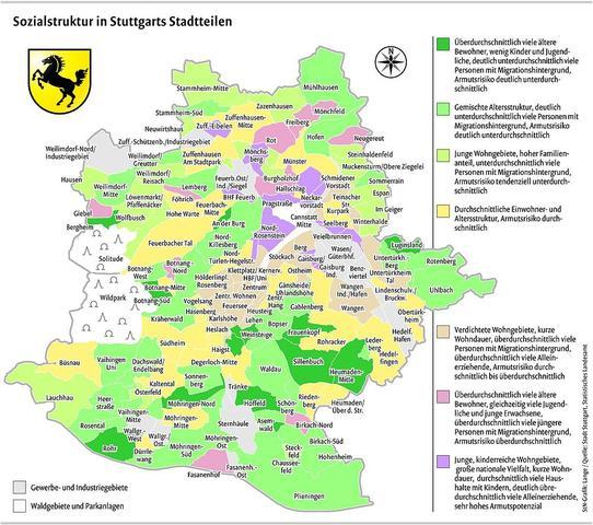 Sozialstruktur in Stuttgarts Stadtteilen - (Reise, Stuttgart, Ortsteile)