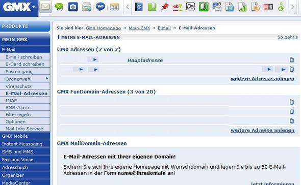 GMX E-Mail-Adressen - (Internet, Email, gmx)