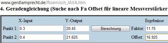Geradengleichungstool zur Bestimmung von Faktor und Offset - (Mathe, Mathematik, Formel)