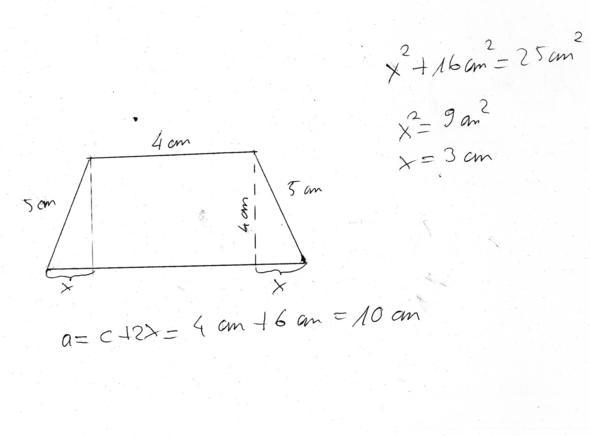 gleichschenkliges trapez grundseite berechnen mathe. Black Bedroom Furniture Sets. Home Design Ideas