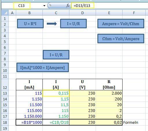 Milli-Ampere - (Microsoft, Excel)