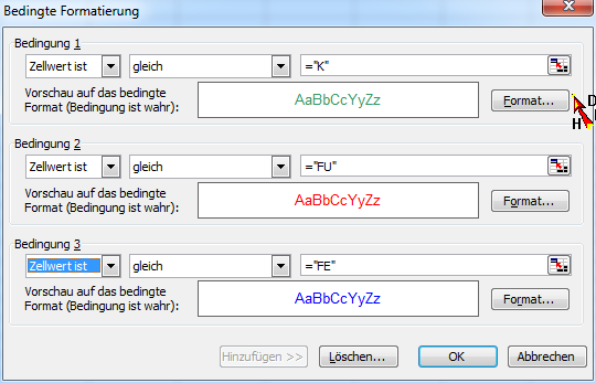 Bedingte Formatierung Excel 2003 - (Farbe, Excel, Tabelle)
