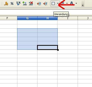 "Bild 1: ""Umrandung"" anklicken (Quelle: GF/electrician) - (drucken, Tabelle, OpenOffice)"