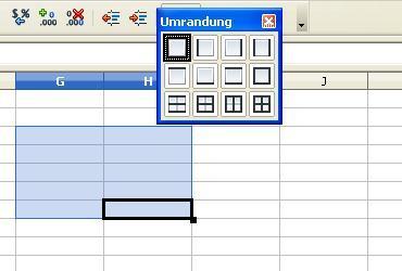 Bild 2: gewünschte Umrandung auswählen (Quelle: GF/electrician) - (drucken, Tabelle, OpenOffice)