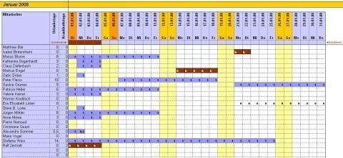 Urlaubsplaner Monatsansicht - (Kalender, urlaubsplaner)