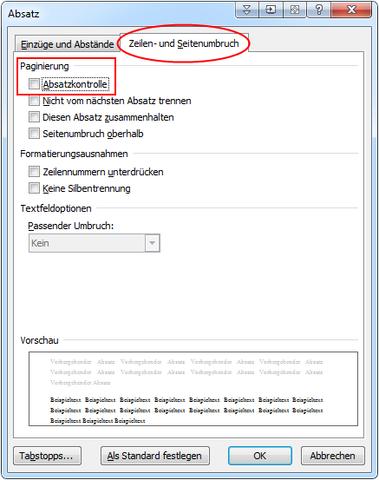 "Hier musst du den Haken bei ""Absatzkontrolle"" deaktivieren. - (Computer, PC, Microsoft)"