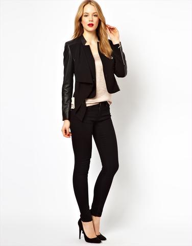 schwarze Jacke mit  Leder - (Frauen, Klamotten, Style)