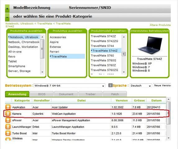 Acer Download - (Programm, Webcam)