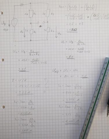 Komplette Rechnung - (Elektrotechnik, Brückenschaltung)