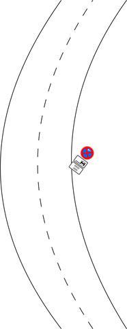 Halteverbot in der Kurve (leider nur 2Dimensional) - (StVO, parken, Verkehrszeichen)