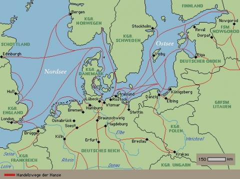 Karte_Hanse_Handelsrouten - (Geschichte, Hanse)