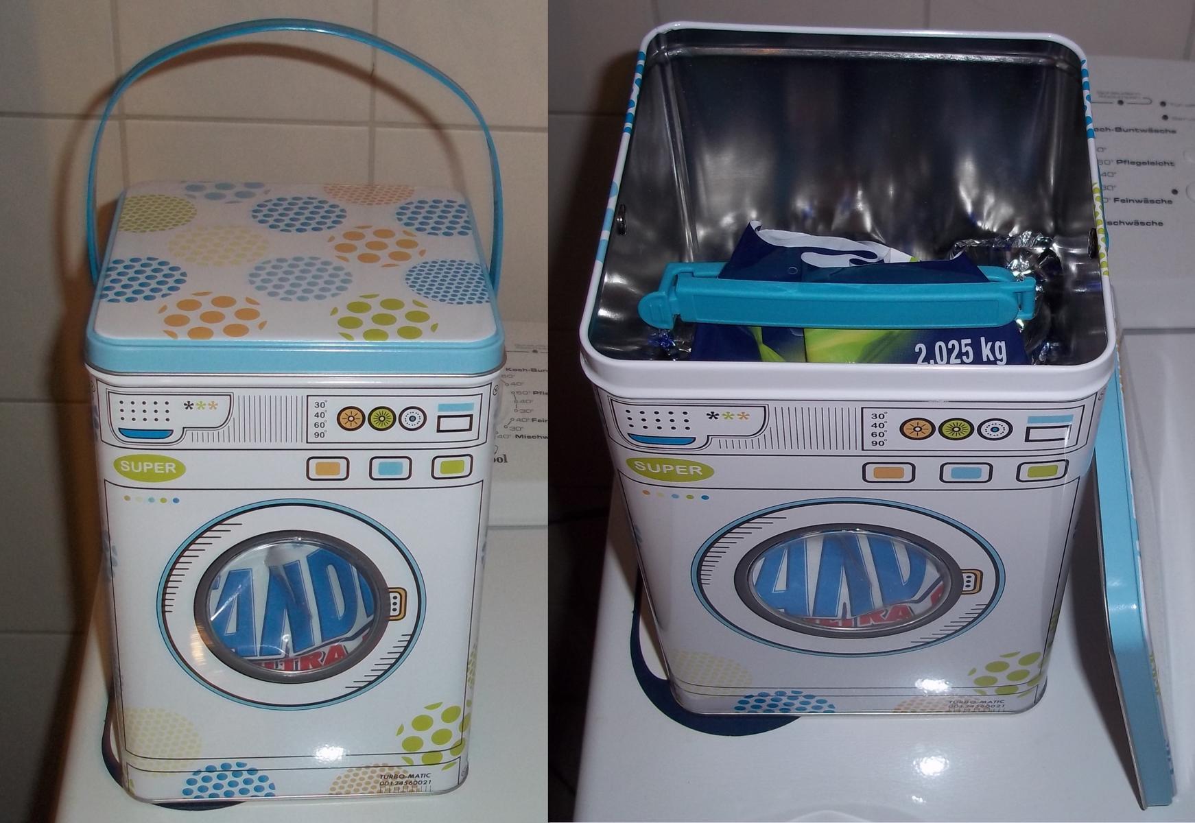 worin bewahrt ihr euer waschmittel auf haushalt aufbewahrung dose. Black Bedroom Furniture Sets. Home Design Ideas