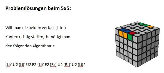 Parity beim Paaren der Kanten 4x4 u. 5x5, 7x7 usw. - (Rätsel, Lösung, Zauberwürfel)