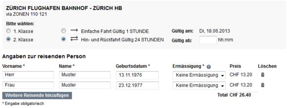 Fahrpreisauskunft - (Flughafen, Transfer, Zürich)