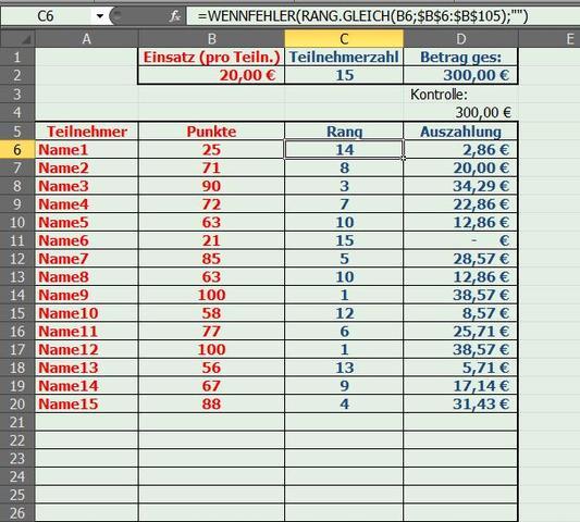 Screenshot - (Computer, Excel, Formel)