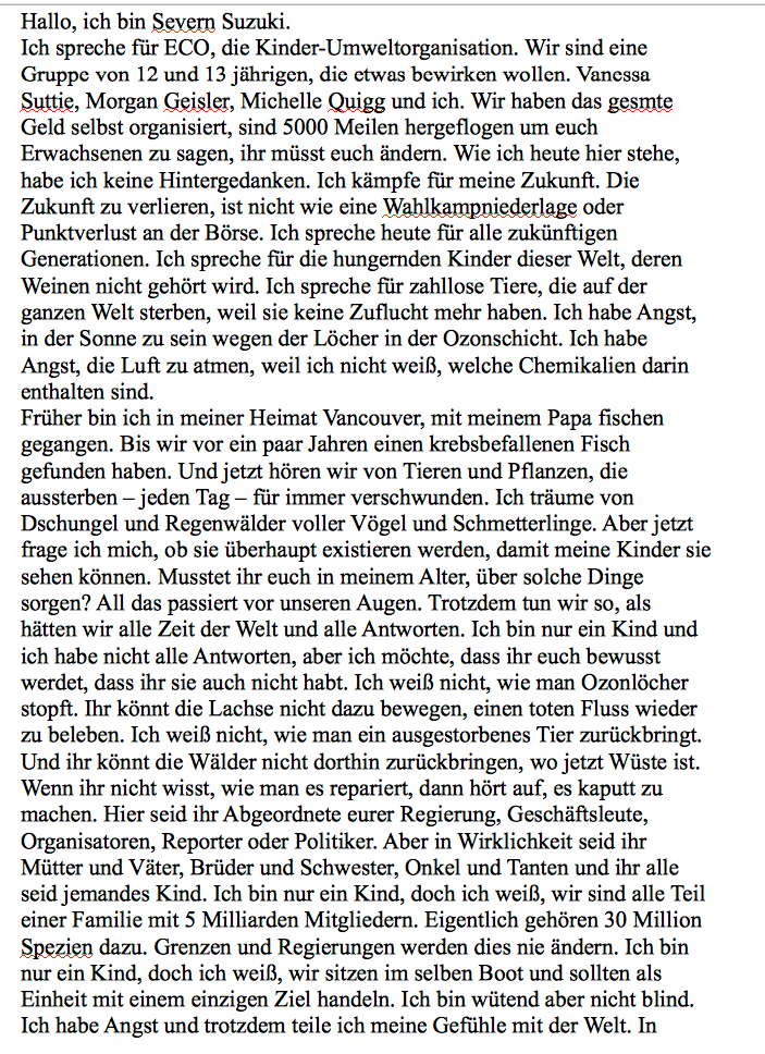 Rede von severn suzuki in textform deutsch umwelt for Ubersetzung englisch deutsch text