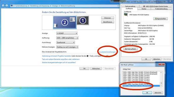 Bildmodi unter Win7 - (PC, Grafikkarte, Windows 7)