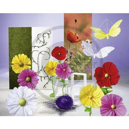 Papierblumen - (basteln, Fenster, Behinderung)