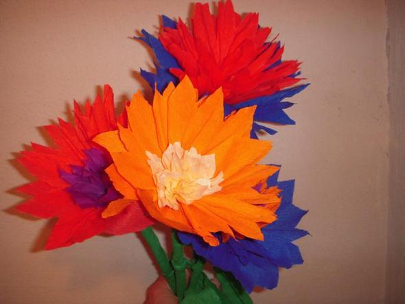 Kreppblumen - (basteln, Fenster, Behinderung)