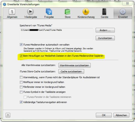 iTunes-Einstellungen - (iTunes, USB-Stick)