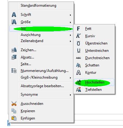 Zeichen hochstellen - (OpenOffice, Schreibprogramm, Hochgestellte Zahlen)
