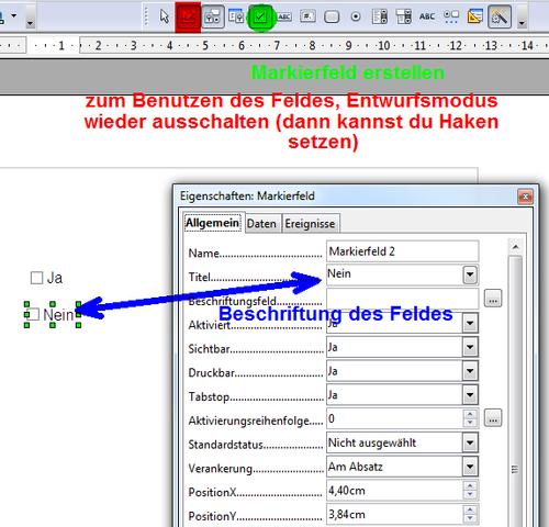 Ja/Nein Feld in OpenOffice Writer (Schreiben, Word)