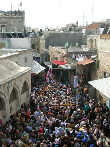 Prozession in der Via Dolorosa - (Bibel, Jesus, delarosa)