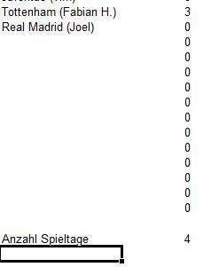 Tabelle - (programmieren, Excel, Anzahl Spieltage)