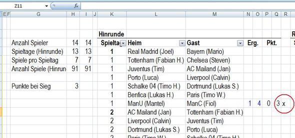 Liga-Spielplan - (programmieren, Excel, Anzahl Spieltage)