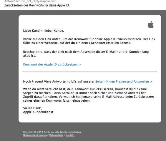 Kennwort ändern - (Apple, Kennwort, Änderungsanfrage)