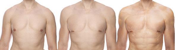 links original, mittig mit iwarp, rechts mit iwarp und Muskelbild-Überlagerung - (Muskeln, Fotografie, Photoshop)