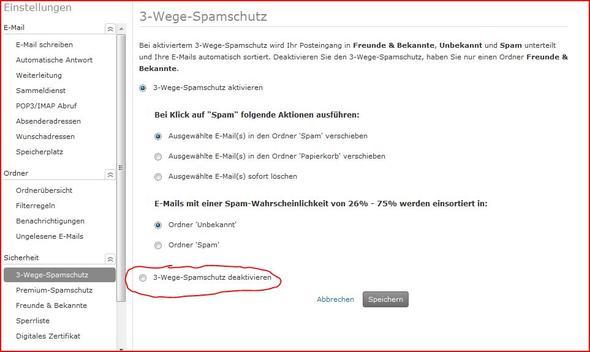 3-Wege-Spamschutz deaktivieren - (Mail, web.de, posteingang)