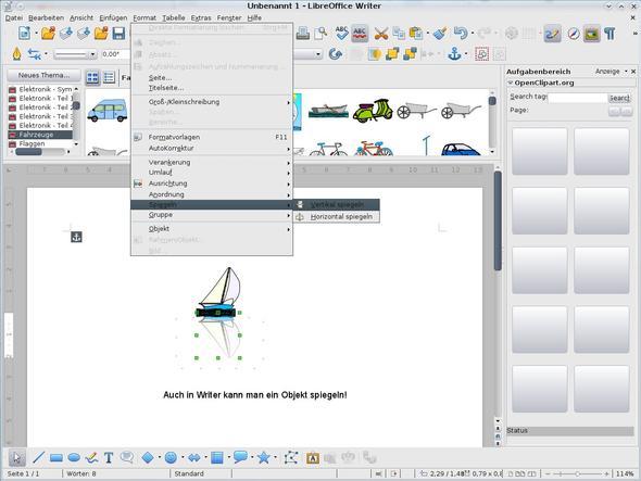 Grafik-Objekte in einem OpenOffice.org Dokument spiegeln ...