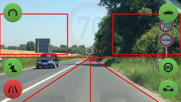 Das 70 Schild wurde bereits erkennt und wird gerade eingeblendet - (Smartphone, Apps, Strassenverkehr)