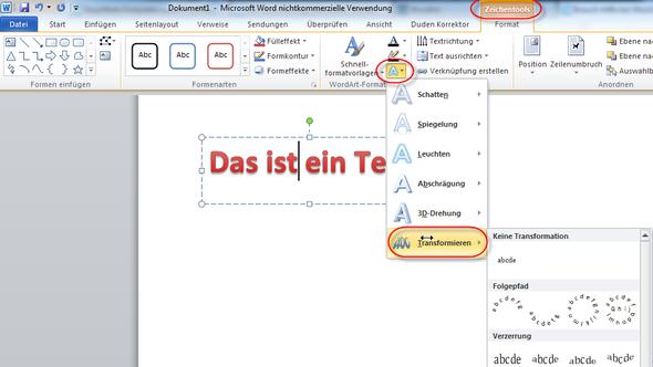 Wordart in MS Word 2010 - (Computer, Word, WordArt)