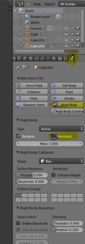1 Physics Spalte, 2. Rigid Body, 3. Animated haken setzen - (Physik, Animation, Blender)