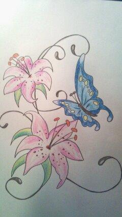 Blüten Schmetterling Tattoo - (Körper, Tattoo, tattoo-stechen)