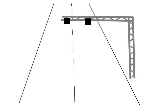 schwarze Kästen sind auf Fahrbahn gerichtet und messen irgendetwas - (Technik, Auto, Polizei)