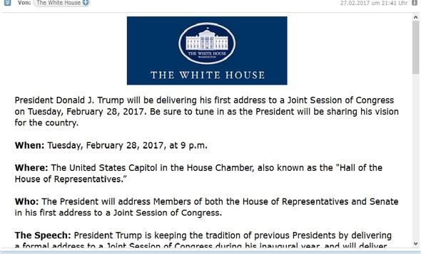 Screenshot Email - (E-Mail, weißes Haus)