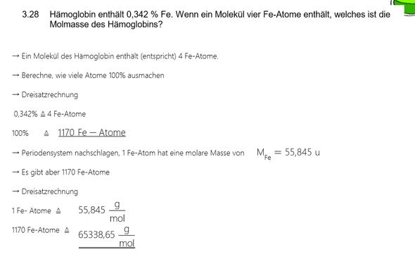 Aufgabe - (Chemie, molare masse, Hämoglobin)