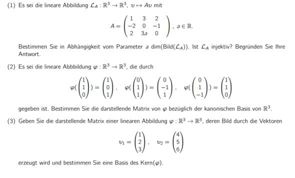 Lineare Algebra, dringend Hilfe, war diese Woche krank und habe ...
