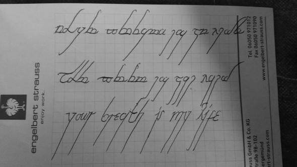 Das letzte ist halt nur so dass englische mit schrift geübt - (Uebersetzung, elbisch, Sindarin quenya)