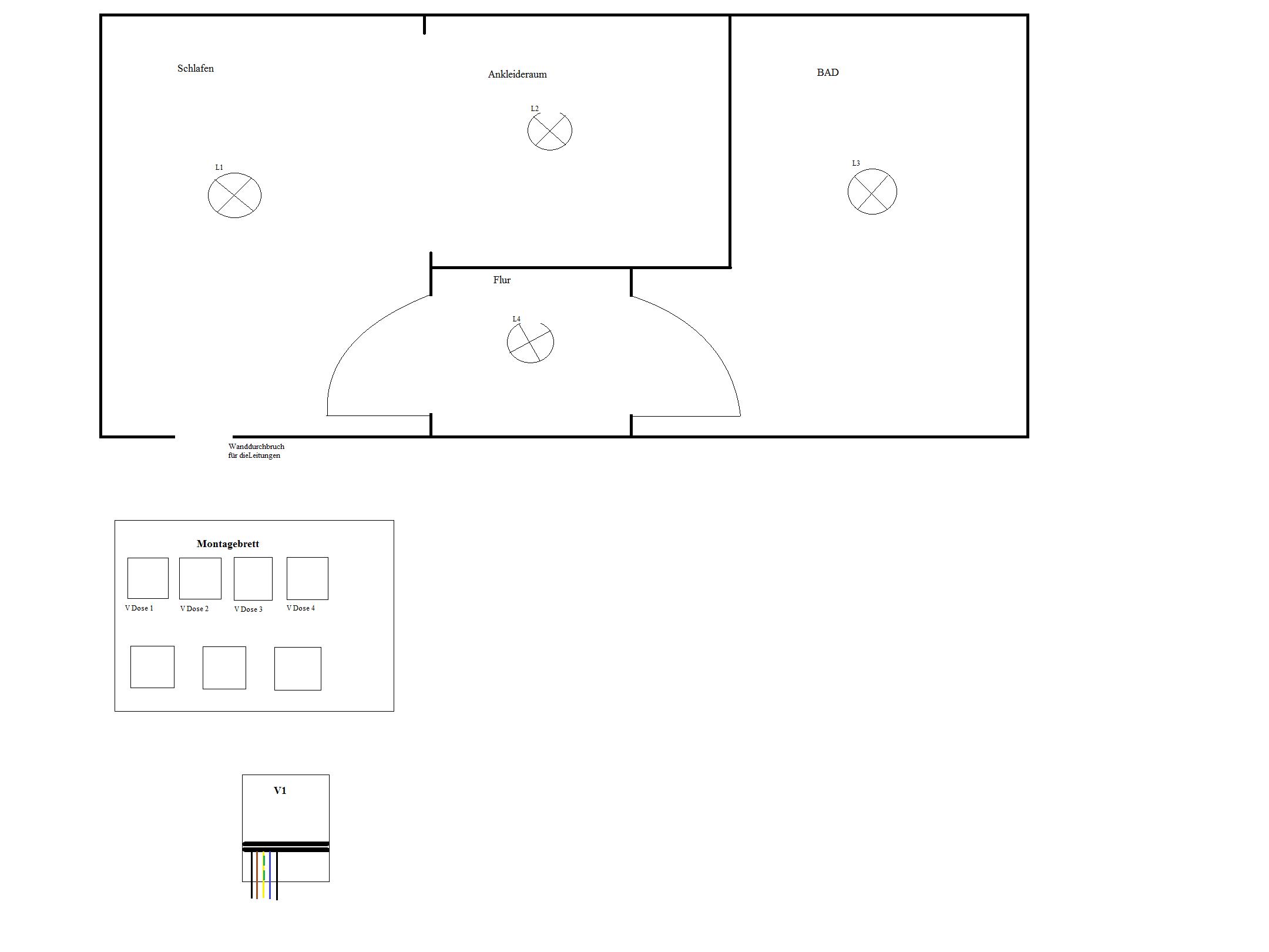 1 Raum mit Unterteilung, 4 Lampen und 4 Schalter! Wie verlege ich ...