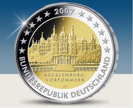 2 Euro Münze Mecklenburg 2007 Gedenkmünze Wert Europa Münzen