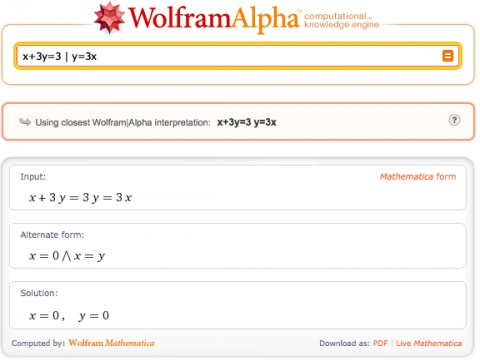 2 gleichungen in wolfram alpha mathematik lineare. Black Bedroom Furniture Sets. Home Design Ideas