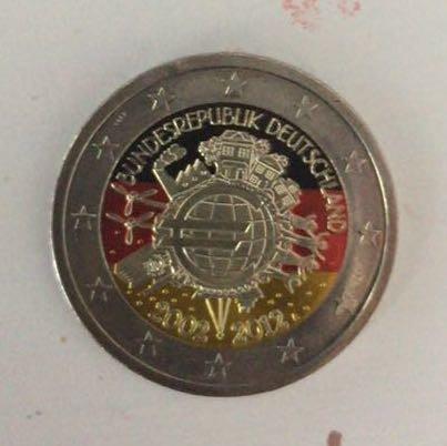 2 Münze Mit Farben Von Deutschlandflagge Euro Bunt Flagge